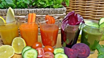 Colorful juice we can buy at cafes and delis